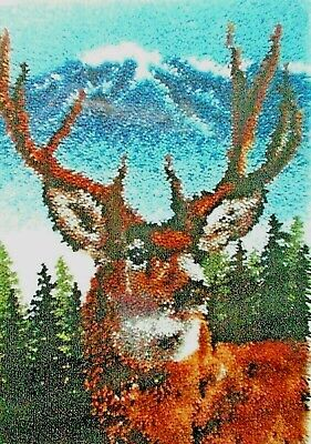 """LATCH HOOK RUG MAKING KIT  """"A DEER"""" a stag from Caron Classic Collection"""