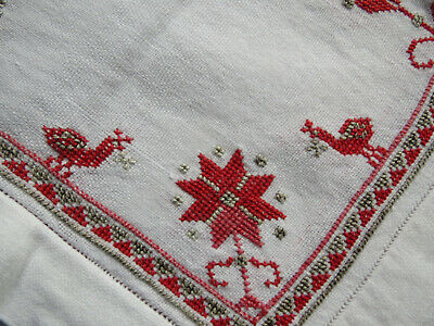 Vtg Hand Embroidered Cross Stitch Peacock Floral Redwork TABLECLOTH Italian Bird