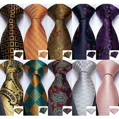 USA Brown Gold Red Teal Green Paisley Checks Stripped Silk Tie Set Necktie Party