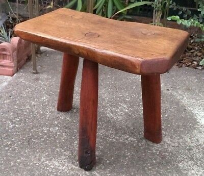 Solid Oak Antique 3 Legged 18th Century Rustic Cottage Stool