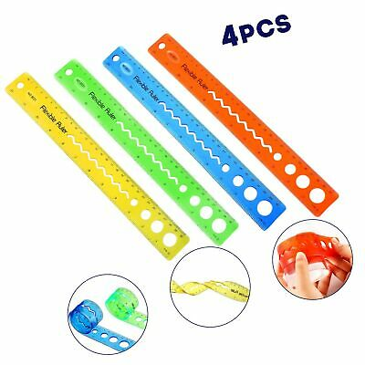 4 Pieces Flexible Rulers 12 Inch Transparent Rulers Shatterproof Plastic Rule...