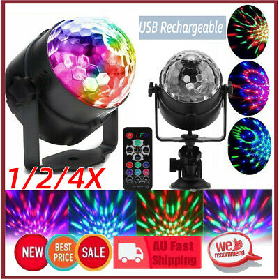 Sound Active RGB LED Stage Light Crystal Ball Disco Xmas Club Party Rechargeable