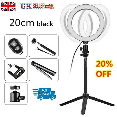 8''LED Ring Light Studio Video Dimmable Lamp Tripod Stand Selfie Camera Phone UK