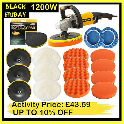 "1200W 7"" Car Polisher Buffer Sander Variable Speed Polishing Machine Polish Kits"