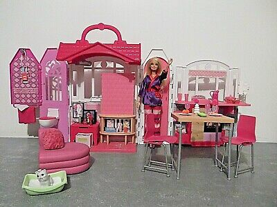 Mattel Barbie Glam Folding Dollhouse W/ Barbie Doll - Furniture & Accessories