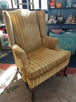 Phenomenal Vintage Ethan Allen Brown Leather Wing Back Chair Mid Short Links Chair Design For Home Short Linksinfo