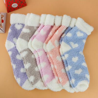 Winter 5 Pairs Ladies Heart Warm Bed Cosy Lounge Soft Floor Fluffy Socks UK
