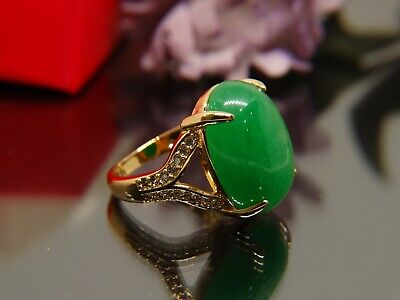 Art Deco Vintage gold Ring Chrysoprase green And White Sapphires Antique sz 9