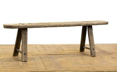 Antique 19th Century Weathered Elm Bench  Country Folk Art Scrubbed Shaker Style