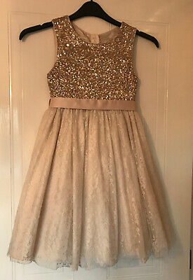 Stunning Monsoon Girls Gold & Blush Sequin & Lace Xmas/Party Dress Age 9 VGC