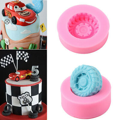 Car Tires Silicone Fondant Mold Cake Decorating Baking Sugarcraft Mould Tools LH