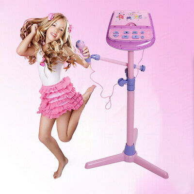 Kids Pink Karaoke System Microphone with Mic Stand & AC Adapter Xmas gift