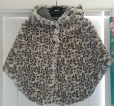 Next Girls Faux Fur Animal Print Hooded Poncho 9-10 years Worn once