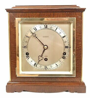Vintage 1930s Art Deco Wooden Westminster Chime Mantel Clock. 'Elliott - London'