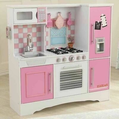 Kidkraft Culinary Wooden Play Kitchen Pastel Kids Pink Child Girl Toy Free Del