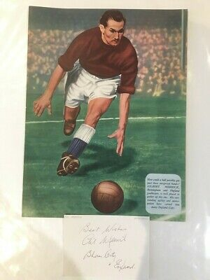 Signed CARD and unsigned picture of GIL MERRICK the Birmingham City footballer