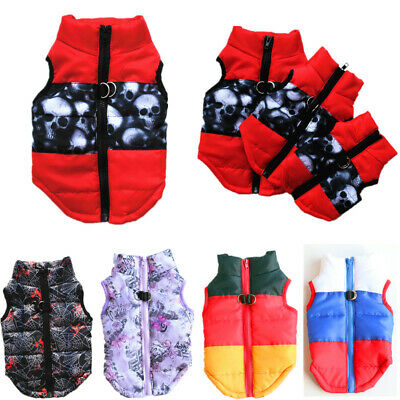 Colorful Pet Dog Down Coat Vest Puppy Zipper Jacket Traction Rope Buckle Costume
