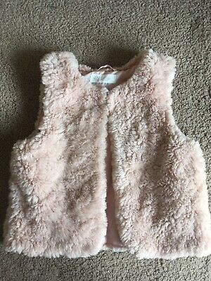 Girls Pink Fluffy Gillet Age 5-6 Years H&M