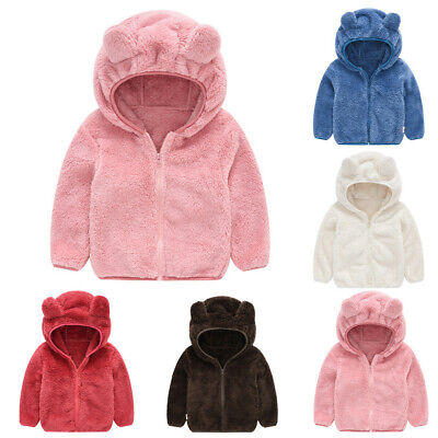 Cute Toddler Kid Baby Gril Boy Solid Warm Hooded Coat Fluffy Outerwear Jacket HO