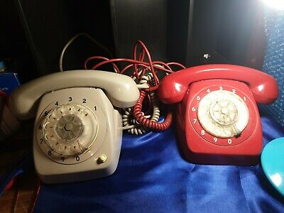 ORIGINAL VINTAGE stc ROTARY DIAL RED  and a grey TELEPHONE c1970s