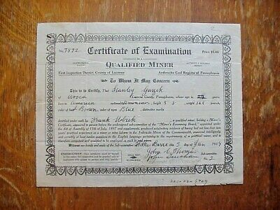 1950  Miners' Examining Board LUZERNE COUNTY Pa. Certificate of Examination