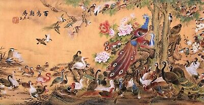 Phenix birds&Flower-ORIENTAL ASIAN FINE ART CHINESE FAMOUS WATERCOLOR PAINTING