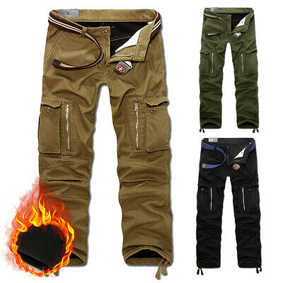 Mens Winter Fleece Lined Thick Thermal Cargo Combat Work Walking Trousers Pants