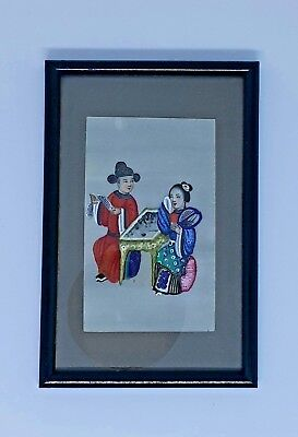 Framed 19th Century Qing Dynasty Chinese Pith Rice Paper Painting (Couple)
