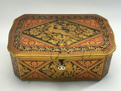 Vintage Oriental Chinese Styled Tin Box With Lock And Key