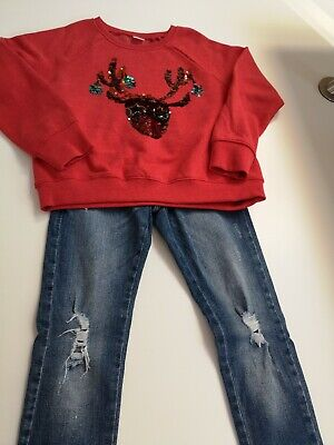 NEXT Girls Distressed Skinny Jeans & Flipsy Sequin Christmas Jumper - Aged 9 yrs