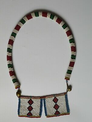 African tribal fine old antique Zulu bead work necklace  South Africa