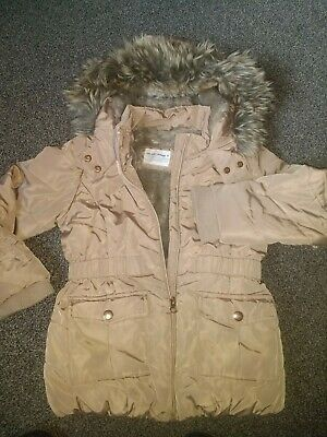 John Lewis Girls Winter Coat 7 Yrs Gold Furry Lined Coat And Hood