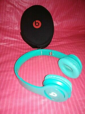 Beats by Dr. Dre Solo HD Headband Wired Headphones Turquoise Aqua Blue Tested