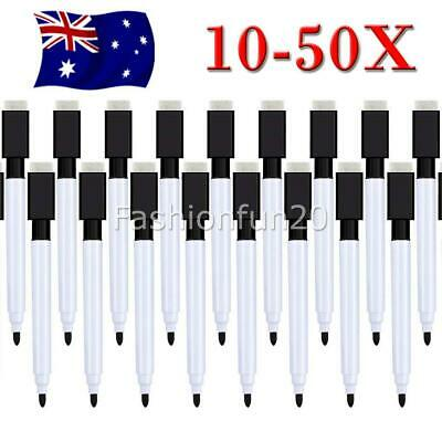 10-50PCS Black Whiteboard Marker Pens Dry Wipe Erase Magnetic Eraser Lid