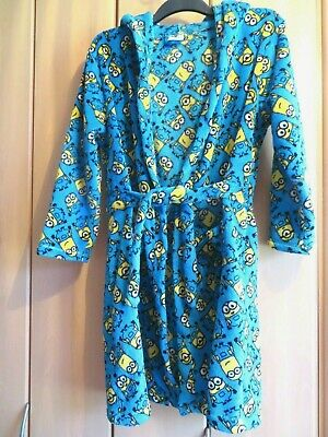 Minion Dressing Gown Age 12-13-Turquoise Blue with Hood - BD7