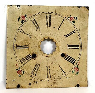Antique American Hand Painted Zinc Og Type Clock Dial