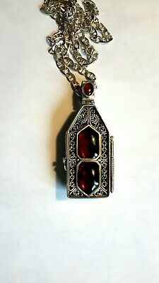 Russian Icon Antique Sterling Silver/Ebony Wood/Amber Pendant