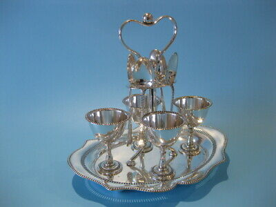 Very Beautiful Antique Silver Plated Victorian 9 Piece Egg Cup Caddy With Spoons