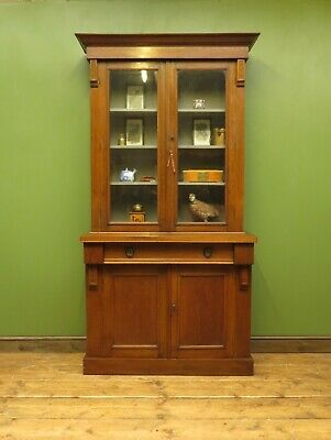 Antique Book Cabinet Glazed Dresser, with grey painted interior F&B Moles Breath