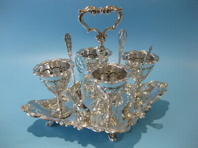 Really Beautiful Antique Silver Plated Victorian 9 Piece Egg Cup Caddy & Spoons