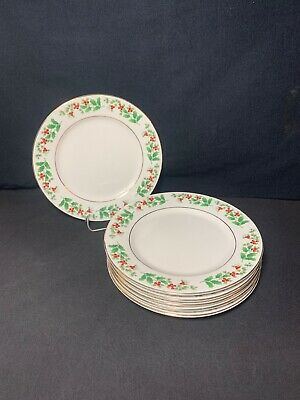"""Gibson Everyday Christmas Charm Holly Berry Salad Plates 7 1/2"""" Set Of 6"""