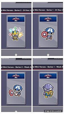 Topps Marvel Collect Card Trader Mini Heroes Set of 18 Series 1 & 3 Plus Awards
