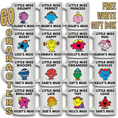 LITTLE MISS Personalised NAME Christmas Coffee Cup Tea Mug Gift Idea Mr Men