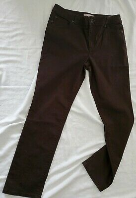Chicos womens  size 1 Short Dark Chocolate Brown pants petite brown cotton blend