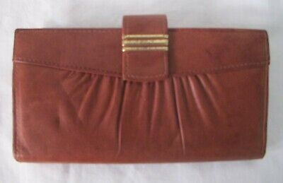 WALLET Genuine 70s Vintage LEATHER outer Tan Brown PURSE Cheque book Retro