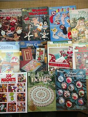 Vintage Plastic Canvas Patterns Lot Coasters Magnets Ornaments Christmas Totes