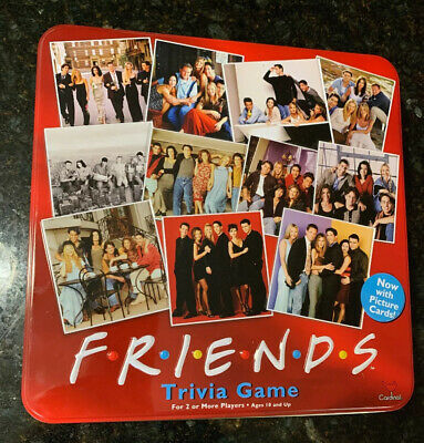 FRIENDS Trivia Board Game Red Tin Picture Cards 2003 Complete NEAR MINT