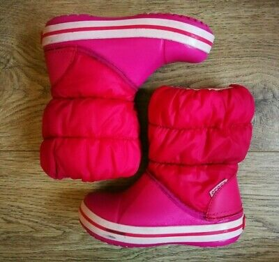 GOOD CONDITION Crocs Kids Pink Winter Snow Puff Wellies Boots - UK Infant 9