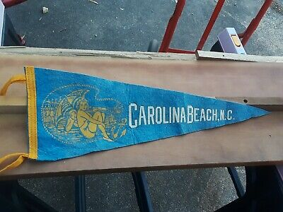 Vintage Souvenir Pennant Carolina Beach,Nc North Carolina Pin Up Felt