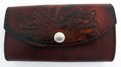 Women's Wallet Brown Genuine Leather Handmade Skull and Roses Clutch Trifold